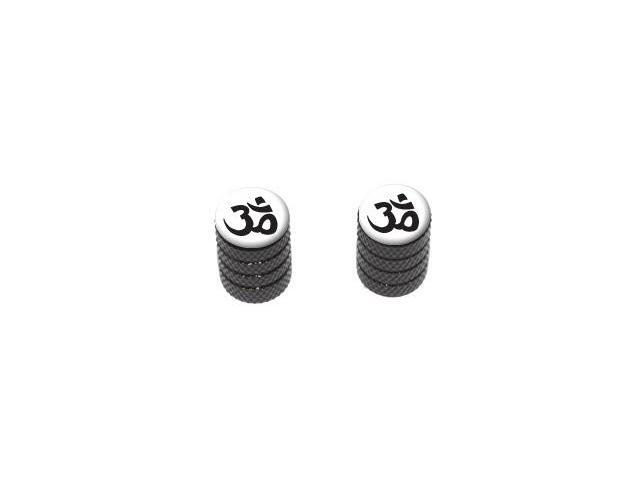 Om Aum Yoga Namaste Black on White - Tire Valve Stem Caps - Motorcycle Bike Bicycle - Black