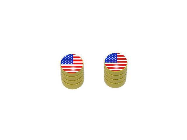 USA American Flag - United States Tire Rim Valve Stem Caps - Motorcycle Bike Bicycle - Yellow