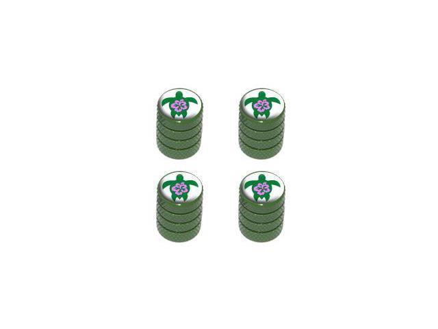 Hibiscus Turtle - Tire Rim Valve Stem Caps - Green