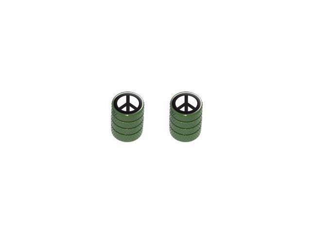 Peace Sign - Tire Rim Valve Stem Caps - Motorcycle Bike Bicycle - Green