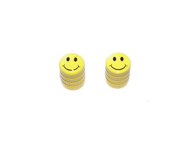 Smiley Smile Face - Tire Rim Valve Stem Caps - Motorcycle Bike Bicycle - Yellow