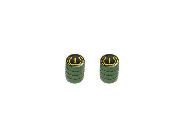 TPMS Tire Pressure Monitoring System Symbol - Tire Rim Valve Stem Caps - Motorcycle Bicycle - Green