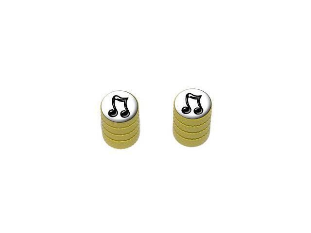 Music Musical Note - Tire Rim Valve Stem Caps - Motorcycle Bike Bicycle - Yellow