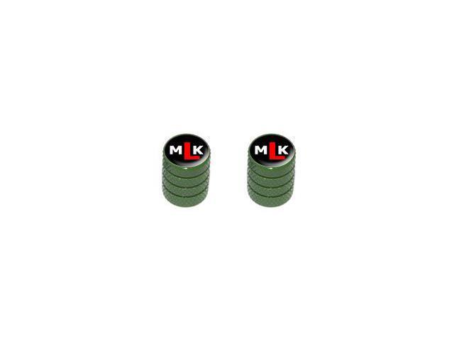 MLK Initials - Martin Luther King - Tire Rim Valve Stem Caps - Motorcycle Bike Bicycle - Green