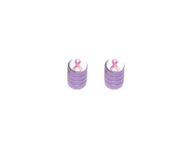Breast Cancer Ribbon - Tire Rim Valve Stem Caps - Motorcycle Bike Bicycle - Purple