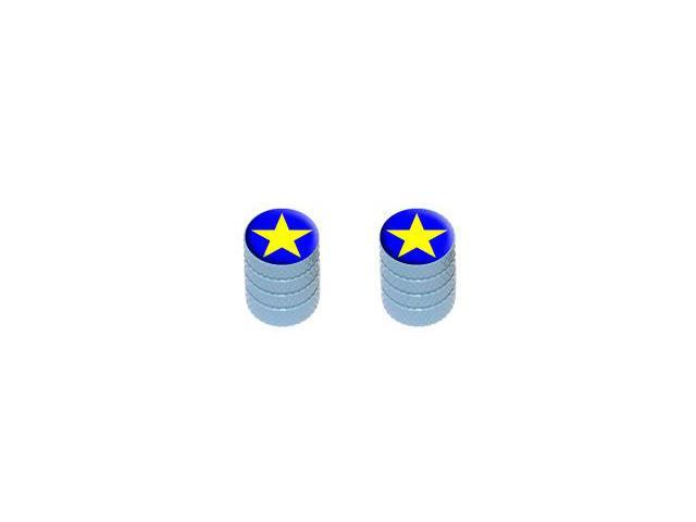 Star - Tire Rim Valve Stem Caps - Motorcycle Bike Bicycle - Light Blue