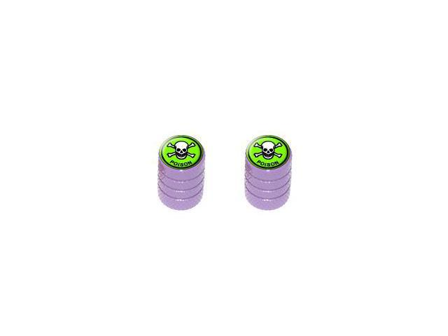 Poison Skull And Crossbones - Tire Rim Valve Stem Caps - Motorcycle Bike Bicycle - Purple