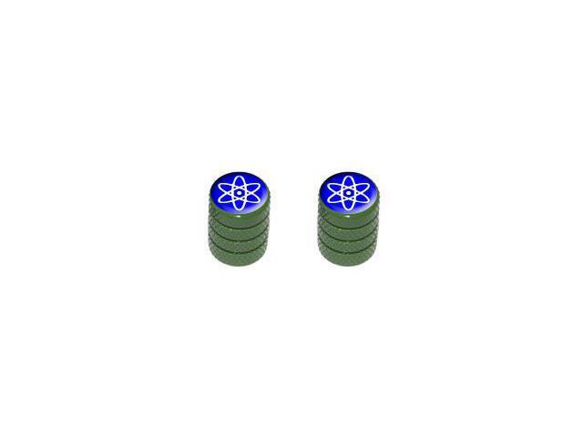 Atomic Symbol White Blue - Tire Rim Valve Stem Caps - Motorcycle Bike Bicycle - Green