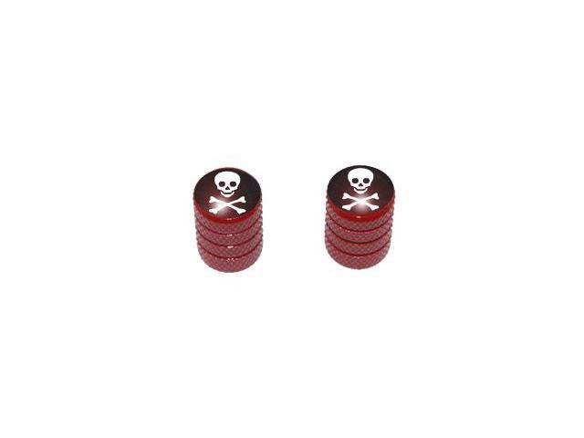 Skull and Crossbones - Tire Rim Valve Stem Caps - Motorcycle Bike Bicycle - Red