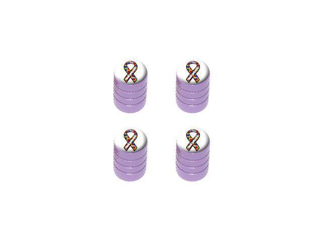 Autism Awareness Ribbon on White - Tire Rim Valve Stem Caps - Purple