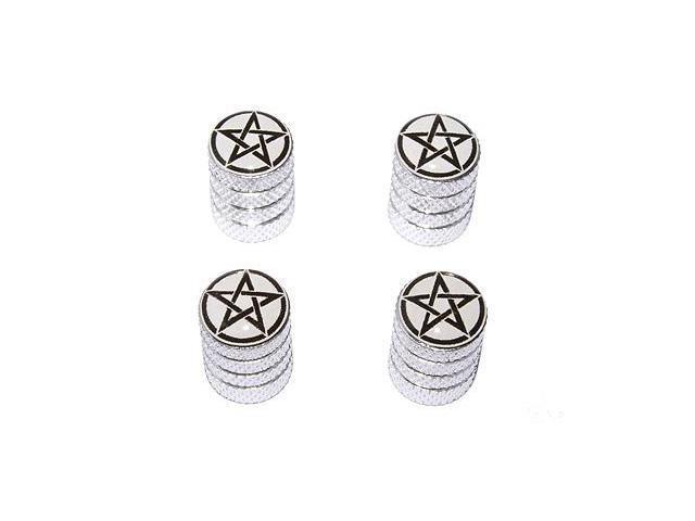 Pentagram - Wiccan Wicca Circle Star - Tire Rim Valve Stem Caps - Aluminum