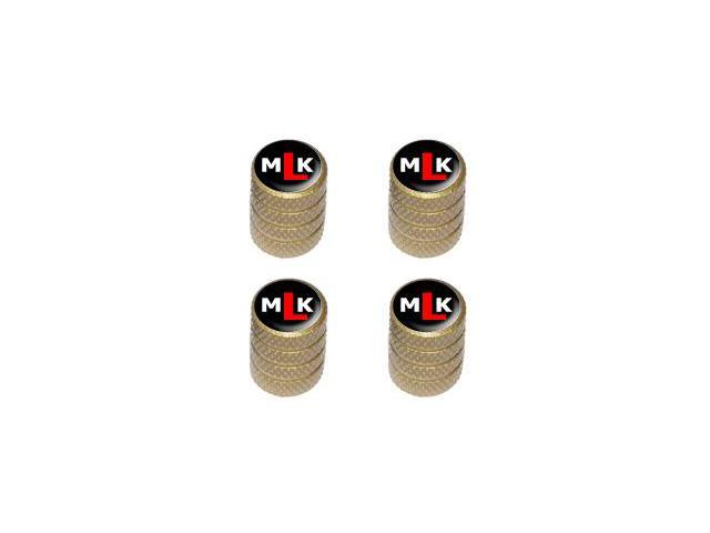 MLK Initials - Martin Luther King - Tire Rim Valve Stem Caps - Gold