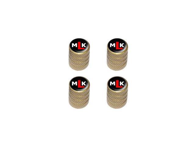 MLK Initials - Martin Luther King - Tire Rim Valve Stem Caps - Gold