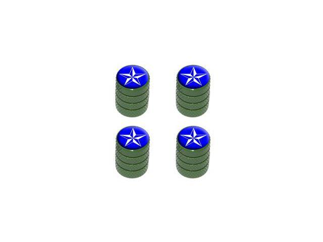 Nautical Star Blue - Tire Rim Valve Stem Caps - Green