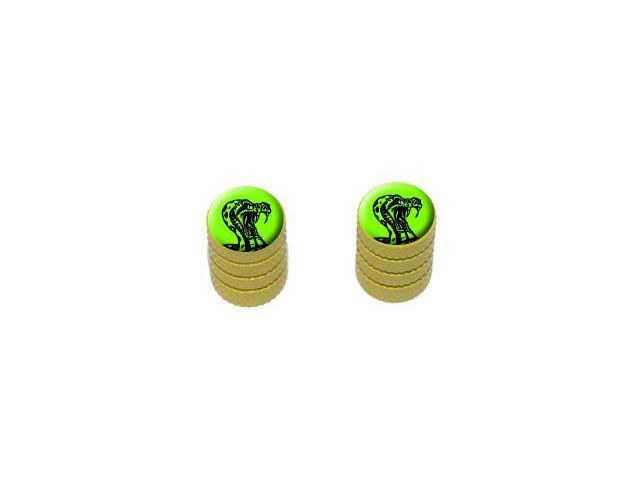 Rattlesnake Snake On Green - Cobra - Tire Valve Stem Caps - Motorcycle Bike Bicycle - Yellow