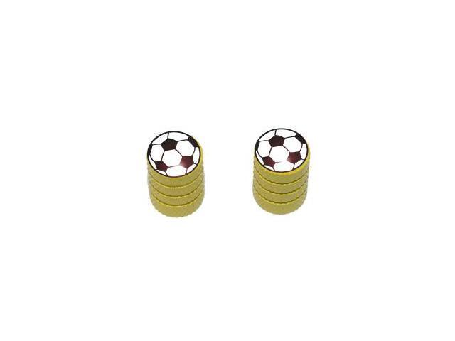 Soccer Ball - Sport Tire Rim Valve Stem Caps - Motorcycle Bike Bicycle - Yellow