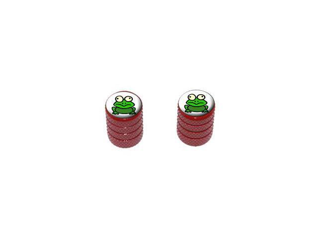 Frog Toad - Tire Rim Valve Stem Caps - Motorcycle Bike Bicycle - Red