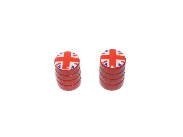 Great Britain Flag - British Mini Valve Stem Caps - Motorcycle Bike Bicycle - Red