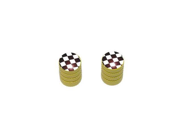 Checkered Flag - NASCAR Tire Rim Valve Stem Caps - Motorcycle Bike Bicycle - Yellow