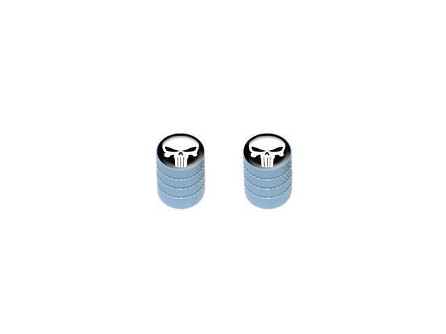 Death Skull - Tire Rim Valve Stem Caps - Motorcycle Bike Bicycle - LtBlue