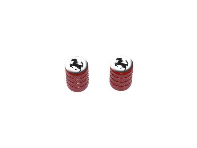 Horse Rearing Up on White - Tire Rim Valve Stem Caps - Motorcycle Bike Bicycle - Red