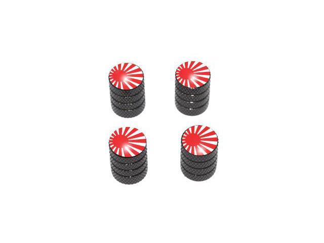 Japan Flag - Rising Sun Tire Rim Valve Stem Caps - Black