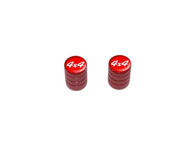 4x4 Off Road White on Red - Tire Rim Valve Stem Caps - Motorcycle Bike Bicycle - Red