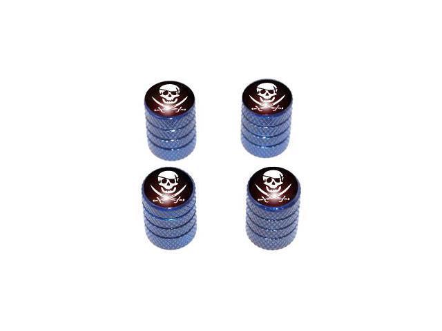 Pirate - Skull Crossbones Tire Valve Stem Caps - Blue