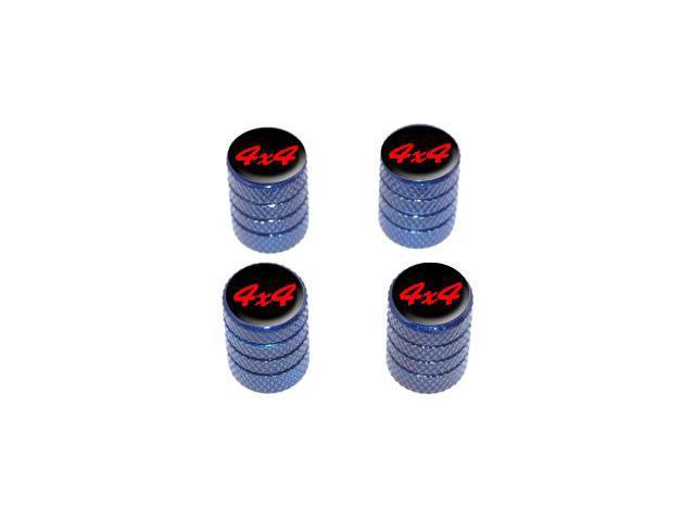 4x4 Off Road Red on Black - Tire Rim Valve Stem Caps - Blue