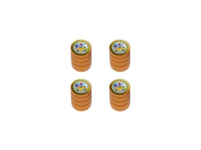 Army - United States Military - Tire Rim Wheel Valve Stem Caps - Orange