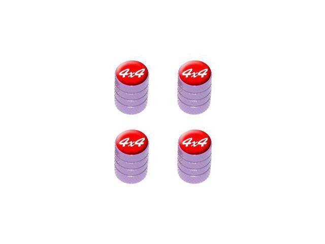 4x4 Off Road White on Red - Tire Rim Valve Stem Caps - Purple
