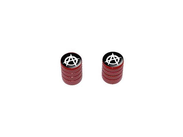 Anarchy Symbol - Tire Rim Valve Stem Caps - Motorcycle Bike Bicycle - Red