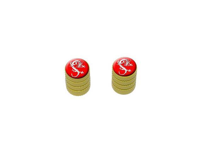 Dragon Red - Tire Rim Valve Stem Caps - Motorcycle Bike Bicycle - Yellow