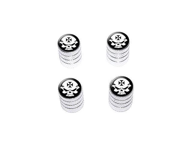 Iron Maltese Cross Biker Skull - Tire Rim Valve Stem Caps - Aluminum