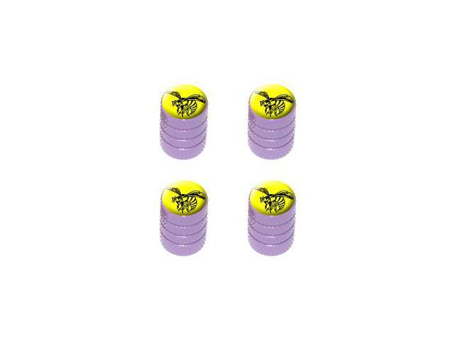 Bee Wasp Hornet Black on Yellow - Tire Rim Valve Stem Caps - Purple