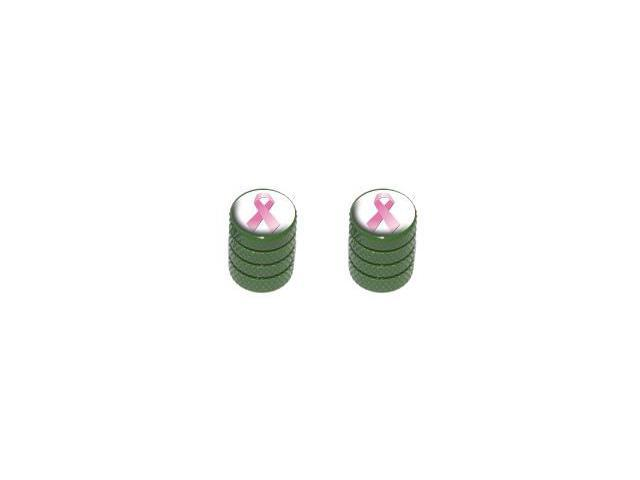 Breast Cancer Ribbon - Tire Rim Valve Stem Caps - Motorcycle Bike Bicycle - Green