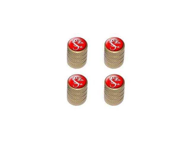 Dragon Red - Tire Rim Valve Stem Caps - Gold