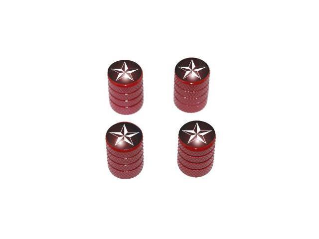 Nautical Star Black - Tire Rim Valve Stem Caps - Red