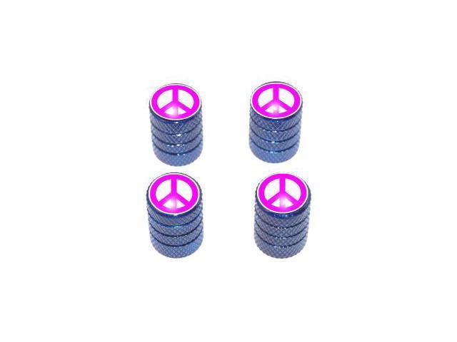 Peace Sign Pink - Tire Rim Valve Stem Caps - Blue