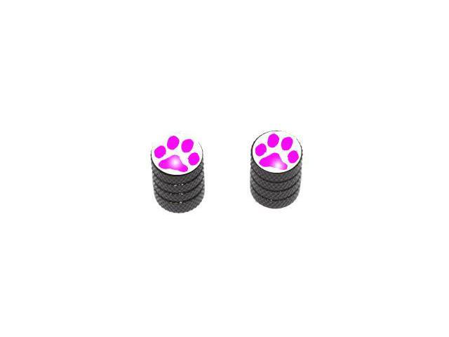 Paw Print Pink - Tire Rim Valve Stem Caps - Motorcycle Bike Bicycle - Black