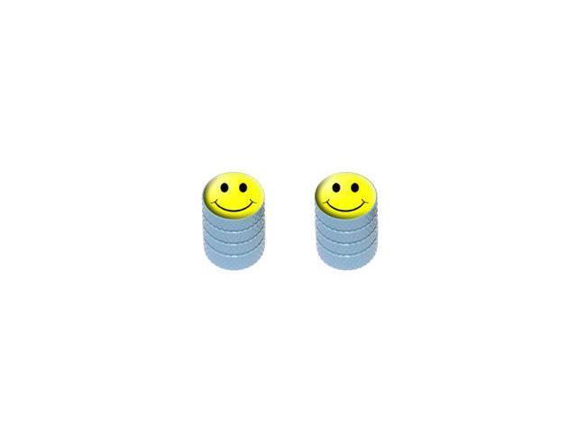 Smiley Face - Tire Rim Valve Stem Caps - Motorcycle Bike Bicycle - Light Blue