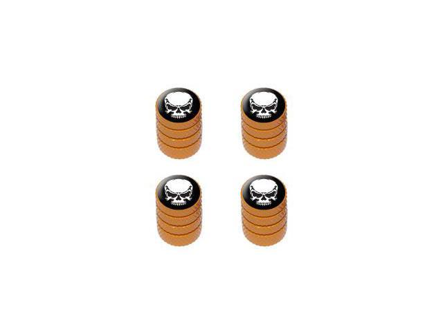 Tribal Skull on Black - Tire Rim Valve Stem Caps - Orange
