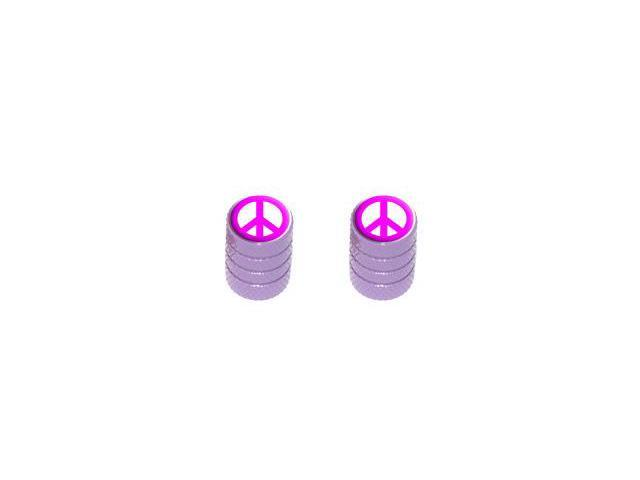 Peace Sign Pink - Tire Rim Valve Stem Caps - Motorcycle Bike Bicycle - Purple