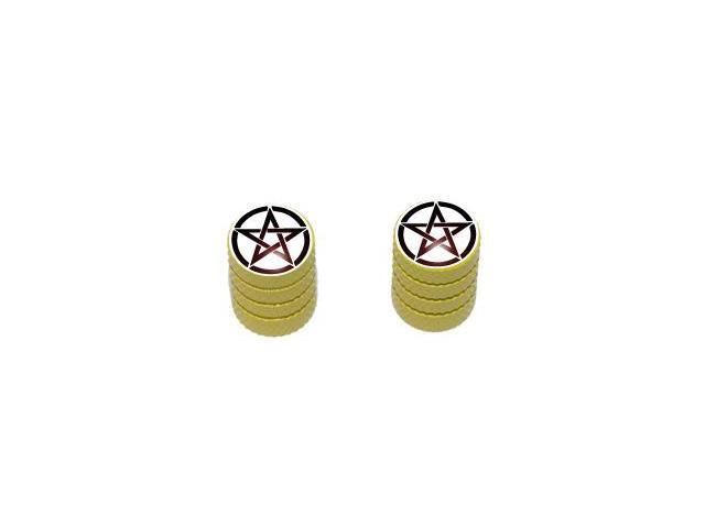 Pentagram - Witch Wicca Tire Rim Valve Stem Caps - Motorcycle Bike Bicycle - Yellow