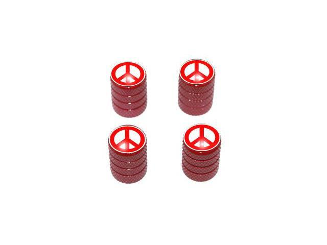 Peace Sign Red - Tire Rim Valve Stem Caps - Red