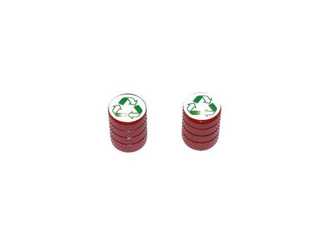 Recycle - Conservation Tire Rim Valve Stem Caps - Motorcycle Bike Bicycle - Red