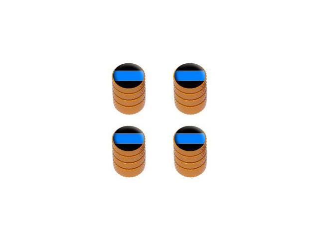 Thin Blue Line - Police Policemen Tire Rim Valve Stem Caps - Orange
