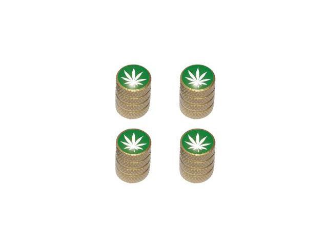 Marijuana Leaf - Weed Pot Tire Valve Stem Caps - Gold