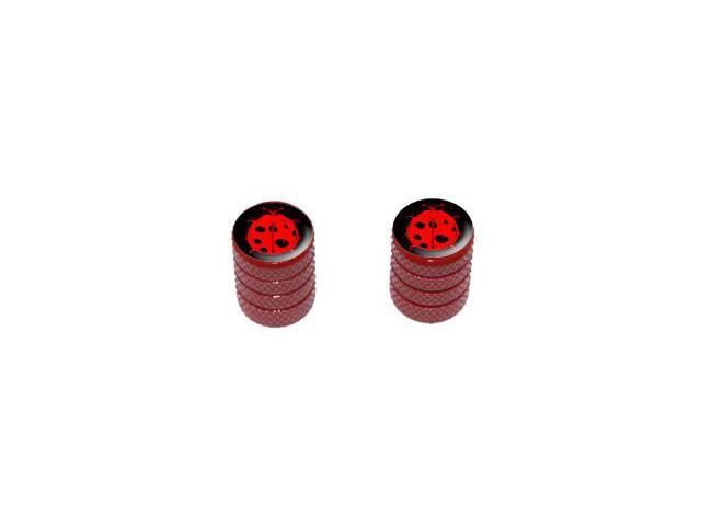 Ladybug Red Lady Bug On Black - Tire Rim Valve Stem Caps - Motorcycle Bike Bicycle - Red
