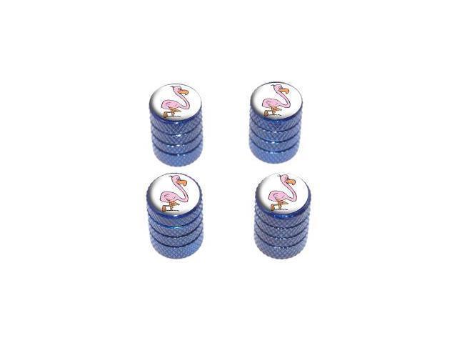 Pink Flamingo - Tire Rim Wheel Valve Stem Caps - Blue